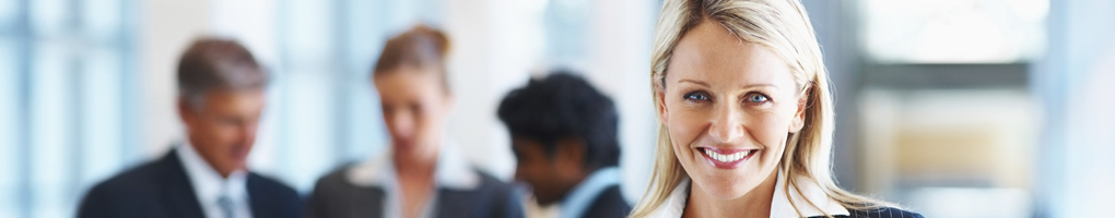 business woman satisfied with career development